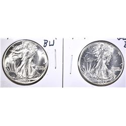 1942 & 43 GEM BU WALKING LIBERTY HALF DOLLARS
