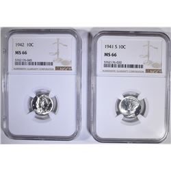 1941-S & 42 MERCURY DIMES, NGC MS-66