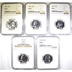 1955, 56, 57, 58, 59 WASHINGTON QUARTERS NGC PF-67