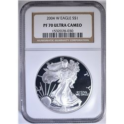 2004-W SILVER EAGLE, NGC PF-70 ULTRA CAMEO