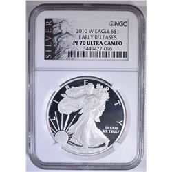 2010-W SILVER EAGLE, NGC PF-70 ULTRA CAMEO