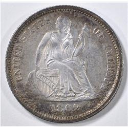 1862 SEATED LIBERTY DIME BU COLOR