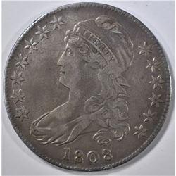 1808/7 BUST HALF DOLLAR XF