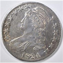 1824/4 BUST HALF DOLLAR CH AU