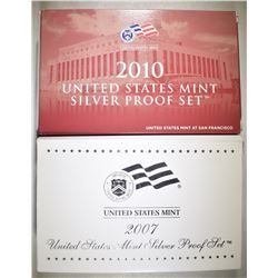 2007 & 2010 U.S. SILVER PROOF SETS ORIG PACKAGING