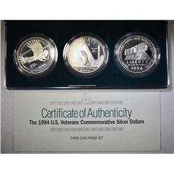 1994 3-Pcs Pf U.S. VETERANS COMMEM DOLLAR SET