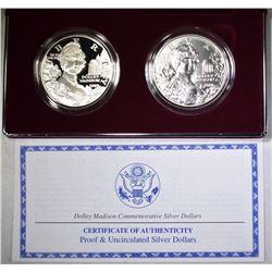1999 DOLLEY MADISON Pf & UNC COMMEM DOLLAR SET