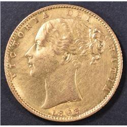 1863 GOLD SOVEREIGN VICTORIA BRITAIN CH BU