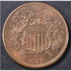 1864 SMALL MOTTO 2 CENT PIECE  CH BU RB
