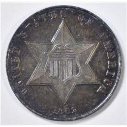 1862 3 CENT SILVER  CH BU  COLOR