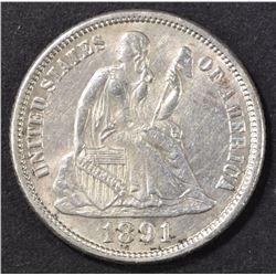 1891-O SEATED LIBERTY DIME  BU