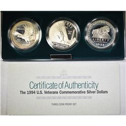 1994 U.S. VETS 3-COIN PROOF SILVER DOLLAR SET