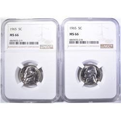 2-1965 NICKELS NGC MS -66