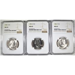 1981 P-D&S S.B.A. DOLLARS, NGC MS-65