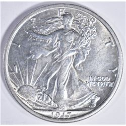 1917-D OBVERSE WALKING LIBERTY HALF DOLLAR, GEM BU