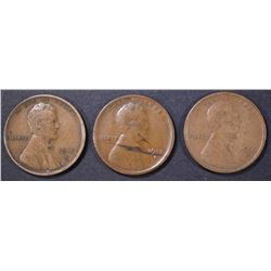1912-S FINE, 13-S VG & 15-S VF LINCOLN CENTS
