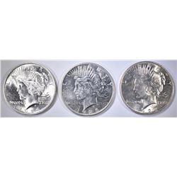 1923, 24 & 25 UNC PEACE DOLLARS