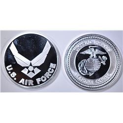 AIR FORCE & MARINES 1Oz .999 SILVER ROUNDS