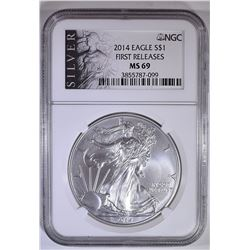 2014 AMERICAN SILVER EAGLE, NGC MS-69 1st RELEASES