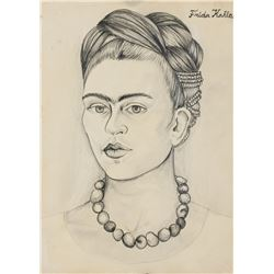 Frida Kahlo Mexican Surrealist Pencil on Paper