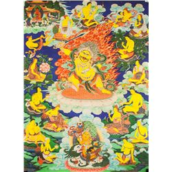 Chinese Protective Deity Tangka on Fabric