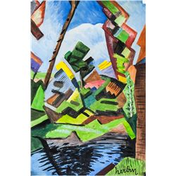 Auguste Herbin French Cubist Tempera on Paper