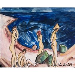 Erich Heckel German Expressionist Tempera on Paper
