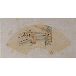 Chinese Watercolor Erotic Scene on Fan Paper Roll