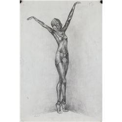 Leon Bakst Russian Art Nouveau Charcoal on Paper