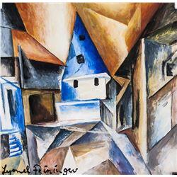 Lyonel Feininger German-American Cubist Gouache
