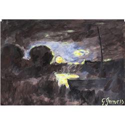 George Inness Sketch Hudson Oil Gouache GI 14
