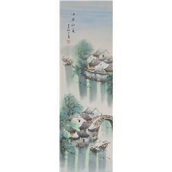 Mei Sun Chinese Watercolor Landscape Scroll
