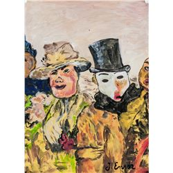 James Ensor Belgian Surrealist Oil on Paper