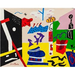 Stuart Davis American Abstract Oil on Canvas