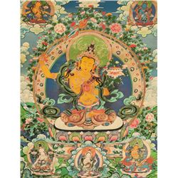 Chinese Print Manjushri Tangka on Fabric