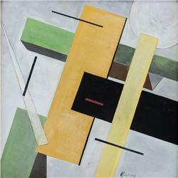El Lissitzky Russian Suprematist Oil on Board