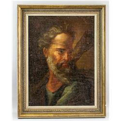 Oil Canvas Unsigned Portrait Judas Thaddaeus