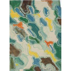 Louis Van Lint Belgian Abstract Oil on Cardboard