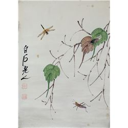 Qi Baishi 1864-1957 Chinese Watercolor Insects