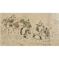 Japanese/Chinese Watercolor on Paper Lohans