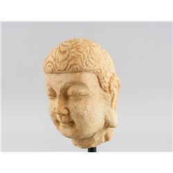 Chinese Marble Shakyamuni Buddha Head with Stand