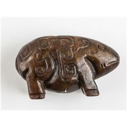 Chinese Archaistic Brown Jade Carved Pig Pendant