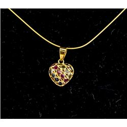 18kt Sapphire and Rubies (1.00ct) Pendant Necklace