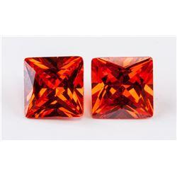 8.34 ct (Total) Orange Zircon Gemstones 2 PC