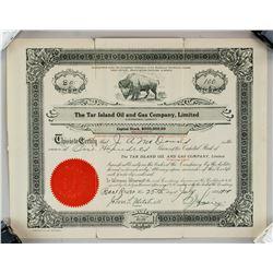 1919 The Tar Island Oil and Gas Company Stock Cert