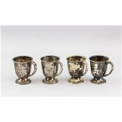 Four Indian Silver Cups with Curved Handle