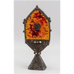 Tibetan Bronze and Amber Torma w/ Thunderbolt Mark