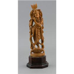Sandalwood Carved Indian Hindu Deity Krishna