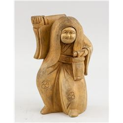 Japanese Wood Carved Dancing Kabuki Statue