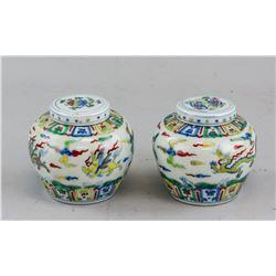 Pair of Chinese Doucai Porcelain Jar with Tian MK